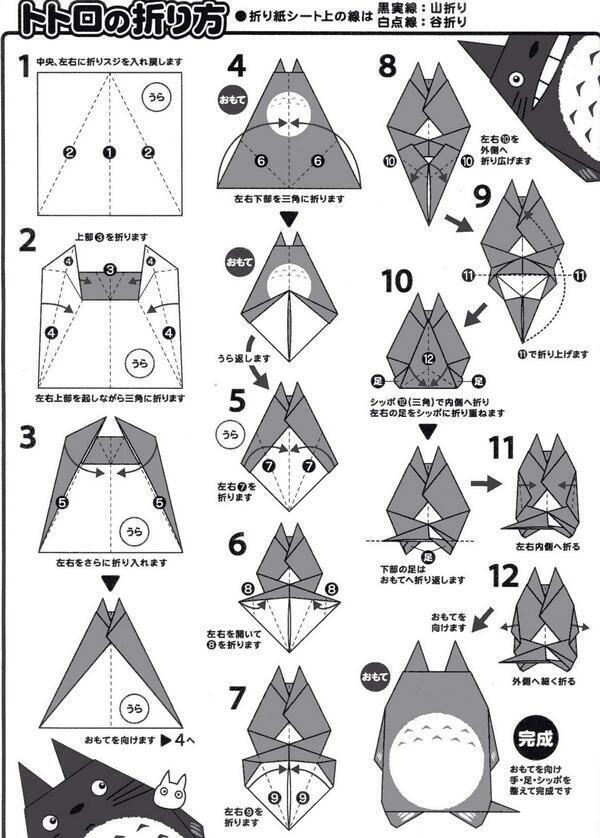 すべての折り紙 簡単恐竜折り紙 : Totoro-Origami-Instructions